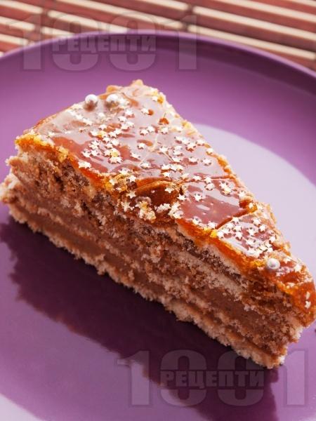 Домашна торта Добуш с карамел - снимка на рецептата